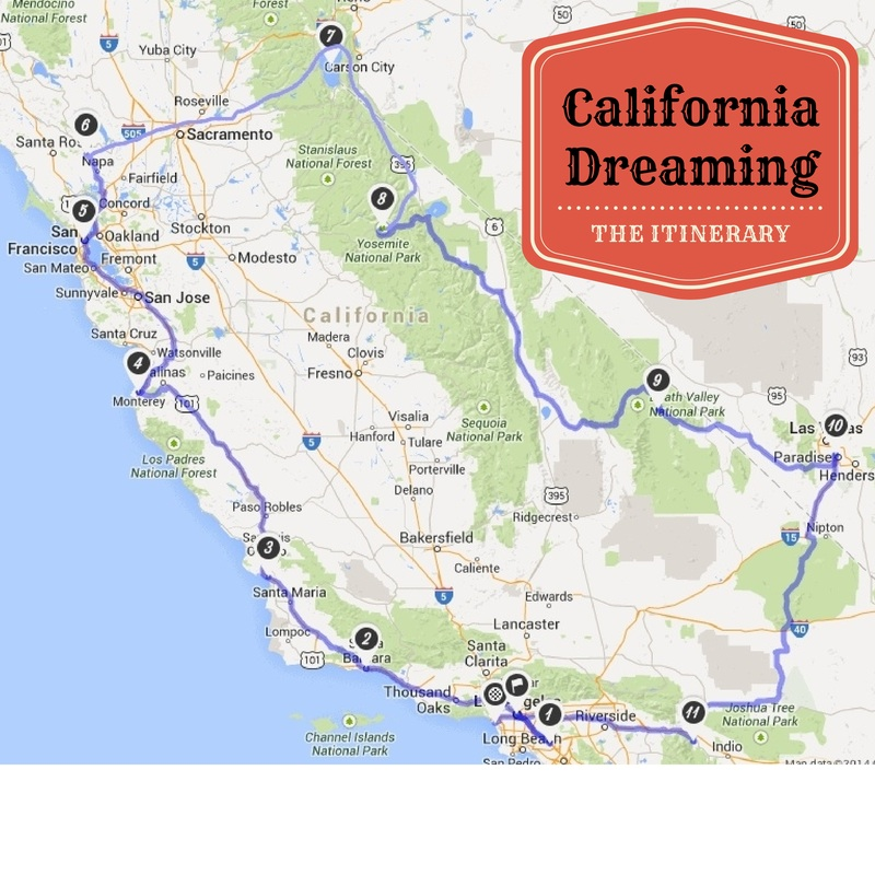 California Dreaming – The Itinerary
